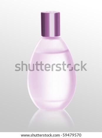glass bottle of perfume on white - stock photo