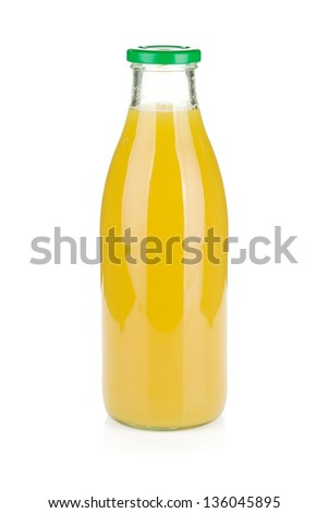 Glass bottle of pineapple juice. Isolated on white