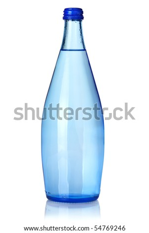 Glass bottle of soda water. Isolated on white background - stock photo