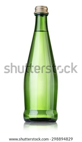 Glass bottle of soda water. Isolated on white background with clipping path - stock photo