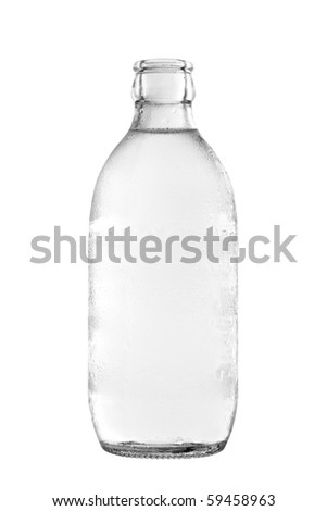 Glass bottle of soda water, isolated on white background. With clipping path. - stock photo