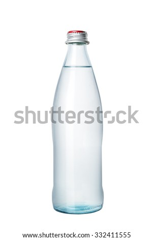 Glass bottle of water - stock photo