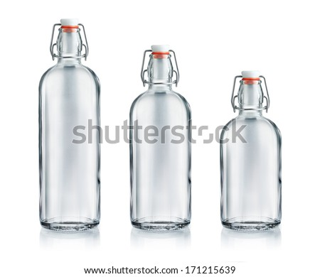 Glass bottle set with swing top isolated on white background - stock photo
