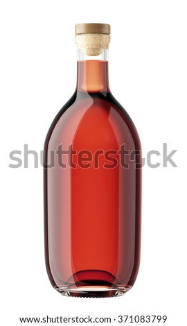 Glass bottle with a wooden stopper isolated on white background. Tincture, whiskey, cognac, brandy, wine, cosmetics, medicine, syrup, oil, beer, cider, juice. 3D Mock up for you design.