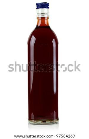 Glass bottle with alcohol.
