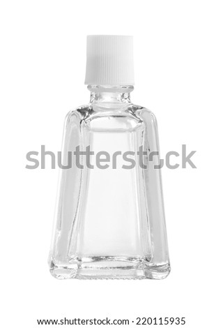Glass bottle with clear liquid (with clipping path) isolated on white background - stock photo