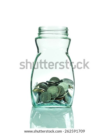 Glass bottle with coins on white background, savings concept, include clipping path - stock photo