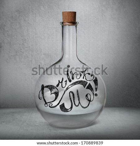 Glass bottle with liquid and vapor standing inside gray box. Drink Me sign drawn on the bottle. Magical doping concept - stock photo