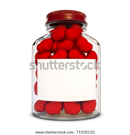 Glass bottle with red hearts - stock photo