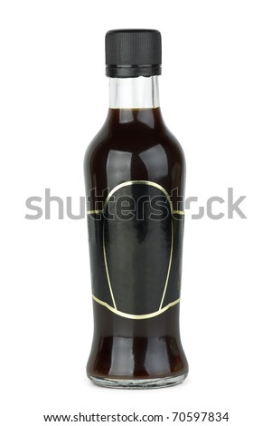 Glass bottle with soy sauce  isolated on the white background - stock photo