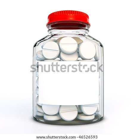 Glass bottle with tablets - stock photo