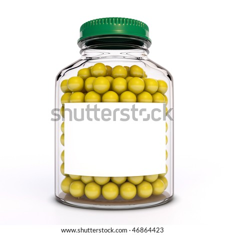 Glass bottle with vitamins - stock photo