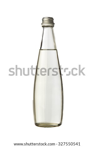 glass bottle with water closed on white background - stock photo