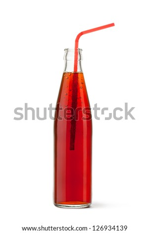 Glass bottled cola with a straw. Isolated on a white. - stock photo