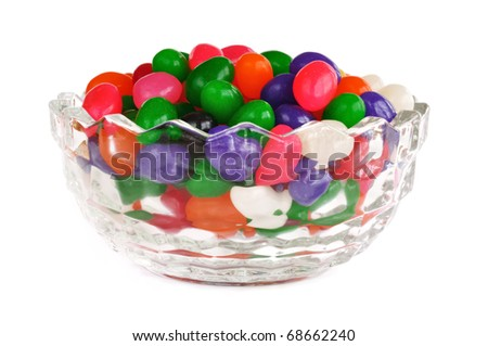 Glass Bowl Full of Colorful Jelly Beans Isolated on White