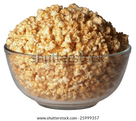 Glass bowl of cheddar-flavored popcorn on white background. - stock photo