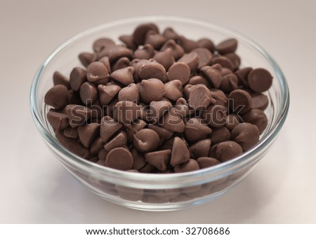 Glass bowl of chocolate chips.