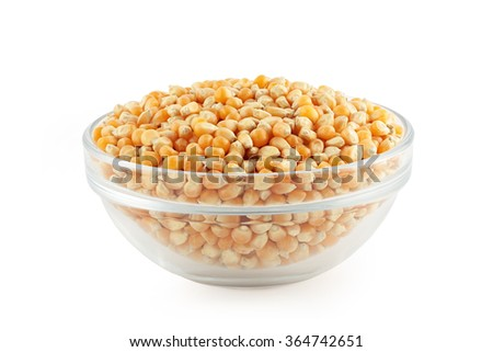 glass bowl with corn grain - stock photo