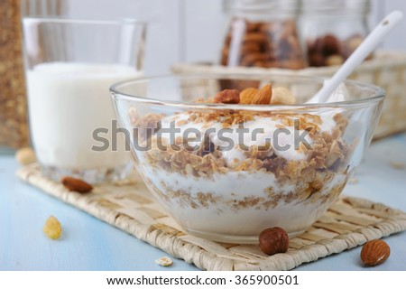 Glass bowl with homemade yogurt and granola from several types of cereals with nuts,coconut chips and dried cranberry - stock photo