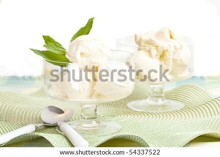Glass Bowl With Vanilla Ice Cream - stock photo