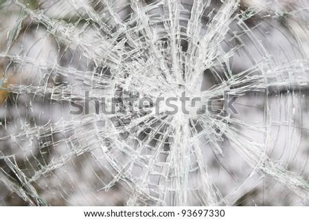 Glass broken automobile - stock photo