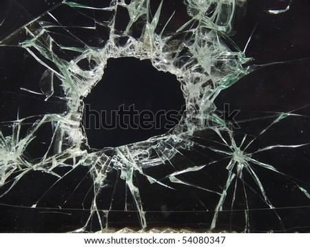 Glass  broken  automobile  cracks - stock photo