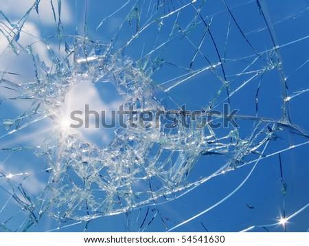 Glass  broken  automobile  sun - stock photo