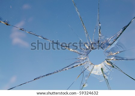Glass  broken  cracks  splinters - stock photo