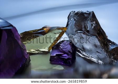 glass broken into pieces - stock photo