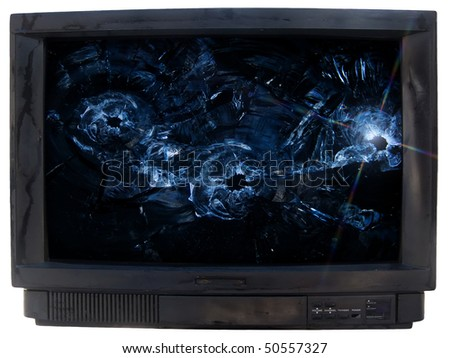 Glass  broken  TV - stock photo