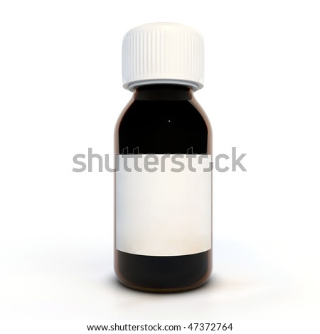 Glass brown bottle with white label - stock photo