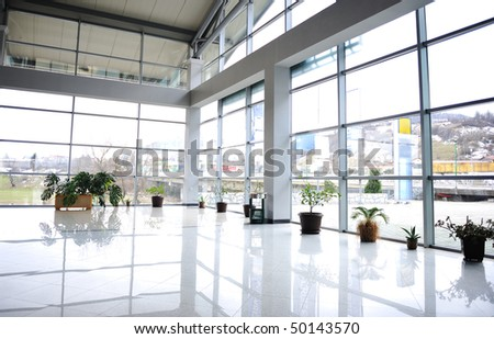 Glass building inside