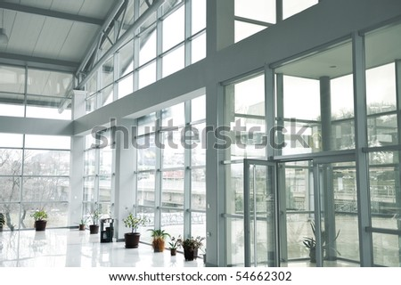 Glass building inside, one side background - stock photo