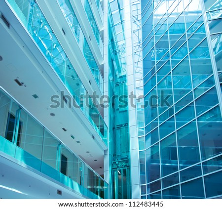 Glass building to perspective drifting up - stock photo