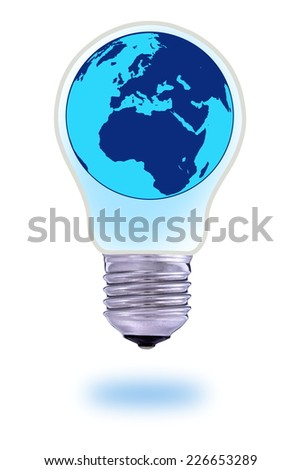 Glass bulb and world globe in the middle - stock photo