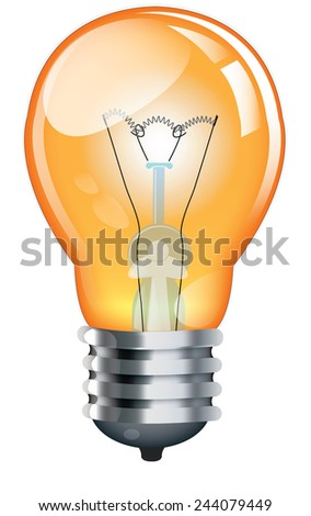 Glass Bulb, This is a classic light bulb that is orange in colour. A traditional incandescent glass light bulb.
