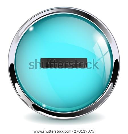 Glass button - Minus. Round web media icon with metallic frame. Isolated on white background. Raster version - stock photo