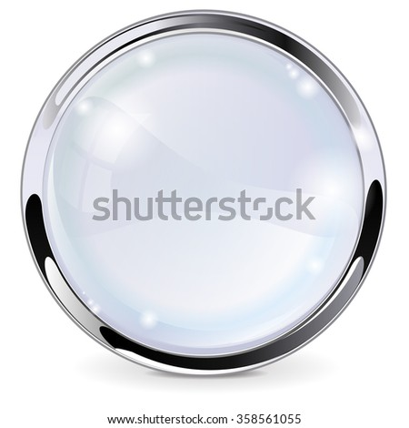 Glass button with chrome frame. Raster version. Illustration isolated on white background - stock photo