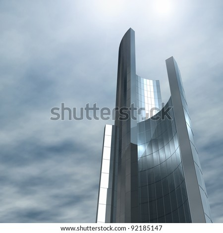 Glass castle. Fictional construction of steel and glass skyline. 3d rendering image. - stock photo