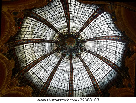 Glass Ceiling from lafayette shopping mall in Paris - stock photo