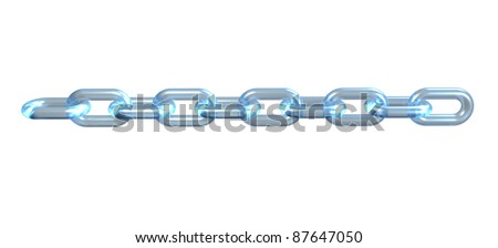 Glass chain, link, connection on black background - stock photo
