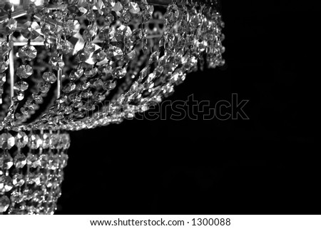 Glass Chandelier in Black and White - stock photo