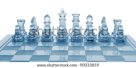 Glass chess. Blue toned. It is isolated on a white background.