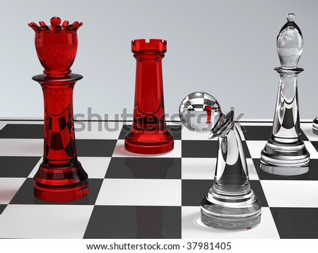 glass chess figures on a board - stock photo
