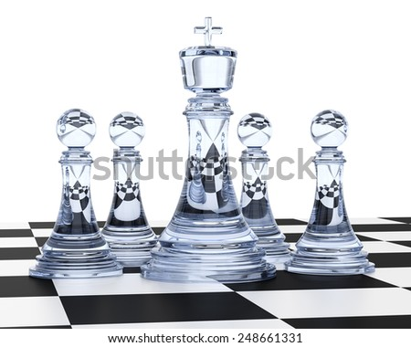 Glass chess isolated on white background. 3d render - stock photo