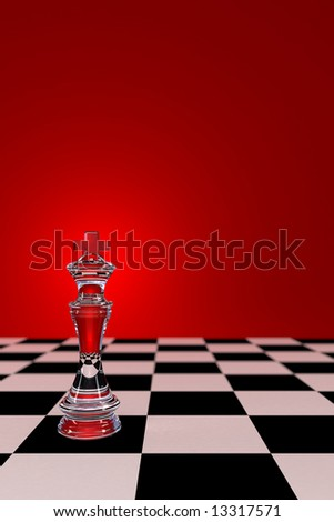 Glass Chess King on checkerboard - with low depth of field