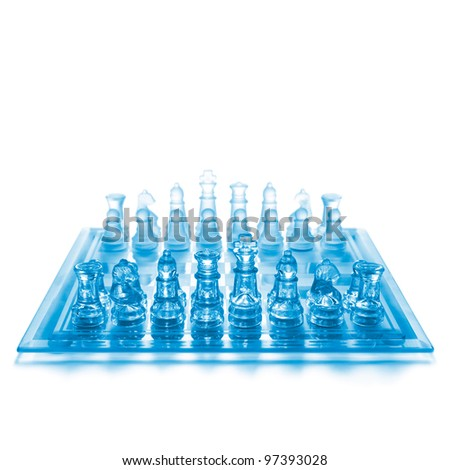 Glass chess on chess board - stock photo