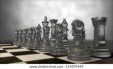 glass chess set - stock photo