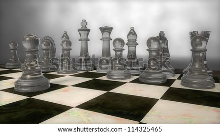glass chess set with pawn moved - stock photo