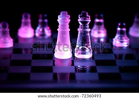 glass chessboard to stand for fair competition